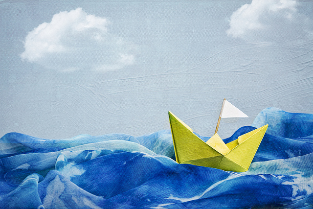 Paper Boat on the Ocean