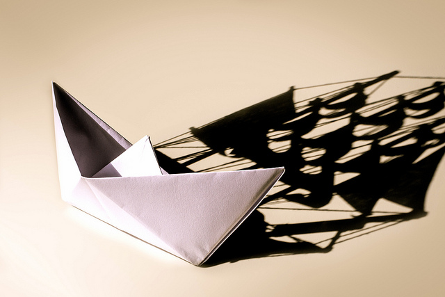 Paper Boat with Shadow Sail